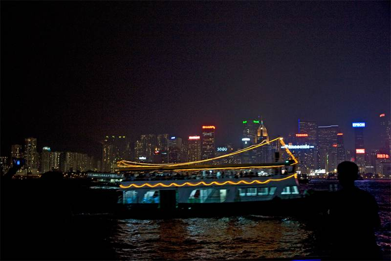 Cruising Hong Kong Harbor at Night