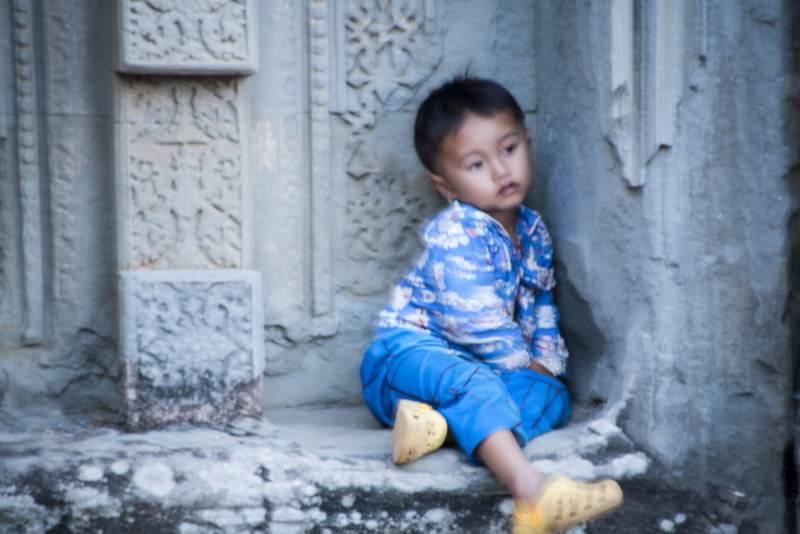 Angkor Thom Tired Toddler
