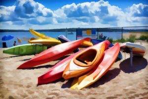 'Kayaks at Bay' by Holly Gordon